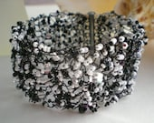 Bead and Crystal crochet wire Black White Cuff Bracelet