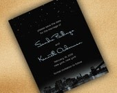City Skyline Save the Date Cards New York and Night Stars