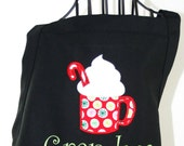 Christmas Apron Personalized with Hot Cocoa, whipped cream & candy cane