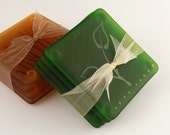 Moss Green Etched Glass Coaster Set, Leaf Design - ToltRiverStudios