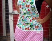 Santa Owls with candy dot pockets, Christmas Apron, one size fits all, great holiday gift and stocking stuffer LIMITED EDITION