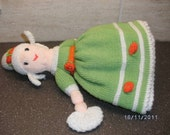 "KNITTED DOLLS.  13"" topsy turvy, reversible, two-in-one doll."