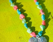 Brooke's Angel WIngs Necklace MULTI-COLOR Semi Precious Howlite Chunky Stones Blinged Double Angel Wings