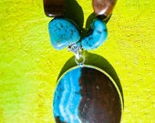 Silver Blue Lace Chalcedony Pendant Necklace with Tigers Eye Fresh Water Pearls Jasper Angle Wing