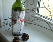 Wine bottle wrapper - Woodgrain paper Brown/red