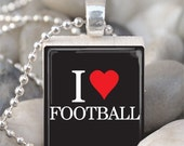 Scrabble Tile Pendant I Love Football Pendant With Silver Ball Chain (A30)