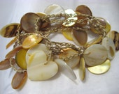 Drop Shell Crochet Jangle Bracelet, Necklace Tan Nylon Thread