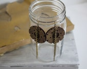 Leather Wheel Chain Earrings