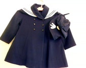 Sale Vintage Child's  NAUTICAL Sailor  COAT Set by Hugo Freund Toddler Size 3 Navy Blue Wool Gaberdine MINT - Coloradofinds