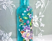 Aqua glass bud vase - multi colored floral with iridescent swarovski crystals