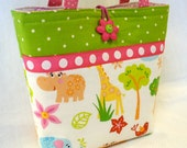 Kids Bag Zoo ANIMALS Childs Purse Little Girls Purse Mini Tote Bag Elephant Hippo Bird Giraffe Childs Bag