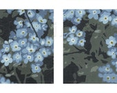 "Spring Forget-Me-Not Diptych (2) 8"" x 8"" Fine Art Prints (Giclee) on Bamboo Paper - colorinspires"