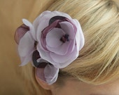 3 lilac/purple  flowers for Bride, bridesmaids and flower girls---head piece, bobby pins