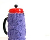 French Press Cozy, Coffee Cozy, Tea Cozy Purple Color Ready to Ship