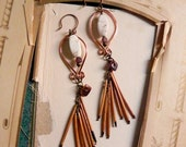Autumn - Tribal porcupine quill earrings - artisan earrings