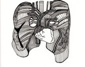 WINGS (art print) patterned anatomical heart and lungs - bluebicicletta