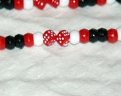 "18"" Red, White, and Black Dice Beaded Lanyard - FREE SHIPPING"