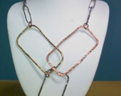 Mixed Metal Rectangle Necklace