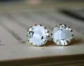 Kate Earrings, Crystal & White Givre Swarovski