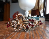 Cherry red rhinestone headband, upcycled red headband, ooak headband