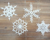 Crochet Snowflakes - christmas decoration ornament - Set of 4