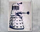 Graffiti Art Stencil: Doctor Who Dr Who Dalek London black grey pink 10x8inch Fine Art Photo Print - EyeshootPhotography