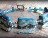 ARCHIPELAGO - Artisan Sculpted Polymer Clay and Blue Aventurine Bracelet - GemmaBeads