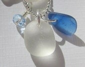 Blue and White Sea Glass Necklace