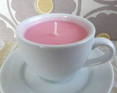 POMEGRANATE SAGE Handmade Natural Soy Teacup Candle (6 oz.) Recycled/Repurposed/Upcycled