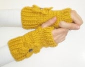 Made to order- Hand Crochet Fingerless Gloves mittens-mustard yellow- with flower and button