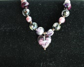 Amethyst Heart Bracelet with Amethyst Lamp-work Beads and Sterling Silver Toggle Clasp
