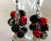 Victorian Gothic Red Black and White Glass Pearl Cha Cha dangle cluster earring