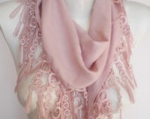 New Design Pashmina scarf with lace- baby pink-powder pink