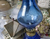 Vintage Cobalt Blue Oil Lamp