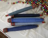 Vintage Bobbins with Blue Thread