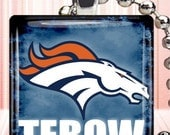 Jewelry, TEBOW,  Denver Broncos PENDANT, Denver Broncos NECKLACE, Glass Tile Pendants, 1x1 inch