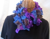 Reserved for sweetpetphotoshop: Hand Knit Women's frilly ruffle purple blue brown neck scarf accessory winter fashion