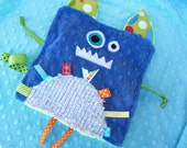 Monty the Monster- Crinkle Crackle- Ribbon blanket with pacifier clip holder