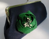 Navy Felt Clutch with Flower