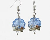 Blue Seashell Seashore Earrings, French hook, Handmade Lampwork Bead