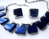 Vintage Signed Coro Royal Blue Lucite Statement Necklace with Earrings Set
