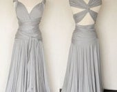 Convertible Infinity Dress, Floor length wrap dress in Stone Grey