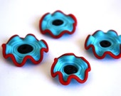 Handmade Lampwork Beads lampwork bead ruffle set  bead set of 4 SRA glass beads Frosted Red Black Turquoise Blue