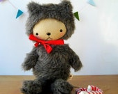Kawaii Teddy Bear Plushie in Gray Speckled Faux Fur Large GRAYSON