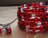 Valentine's Day: Red Beaded Memory Wire Bracelet with Matching Charm Necklace