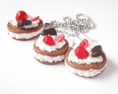 Earrings and Necklace, Cookies with Strawberry, Chocolate and Double Cream. Silver