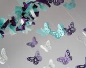 Purple & Aqua Nursery Butterfly Mobile