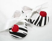 Zebra Print, Baby Shoes With Red Satin RosetteToes, Infant Crib Shoes, Ballet Inspired - pilycouture