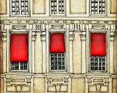Paris centre  - Paris illustration - Art print - Paris art illustration - Paris decor - Paris windows, red, beage, France, French - tubidu