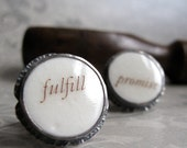 CUFFLINKS sterling silver with porcelain cabochons - quenchmetalworks